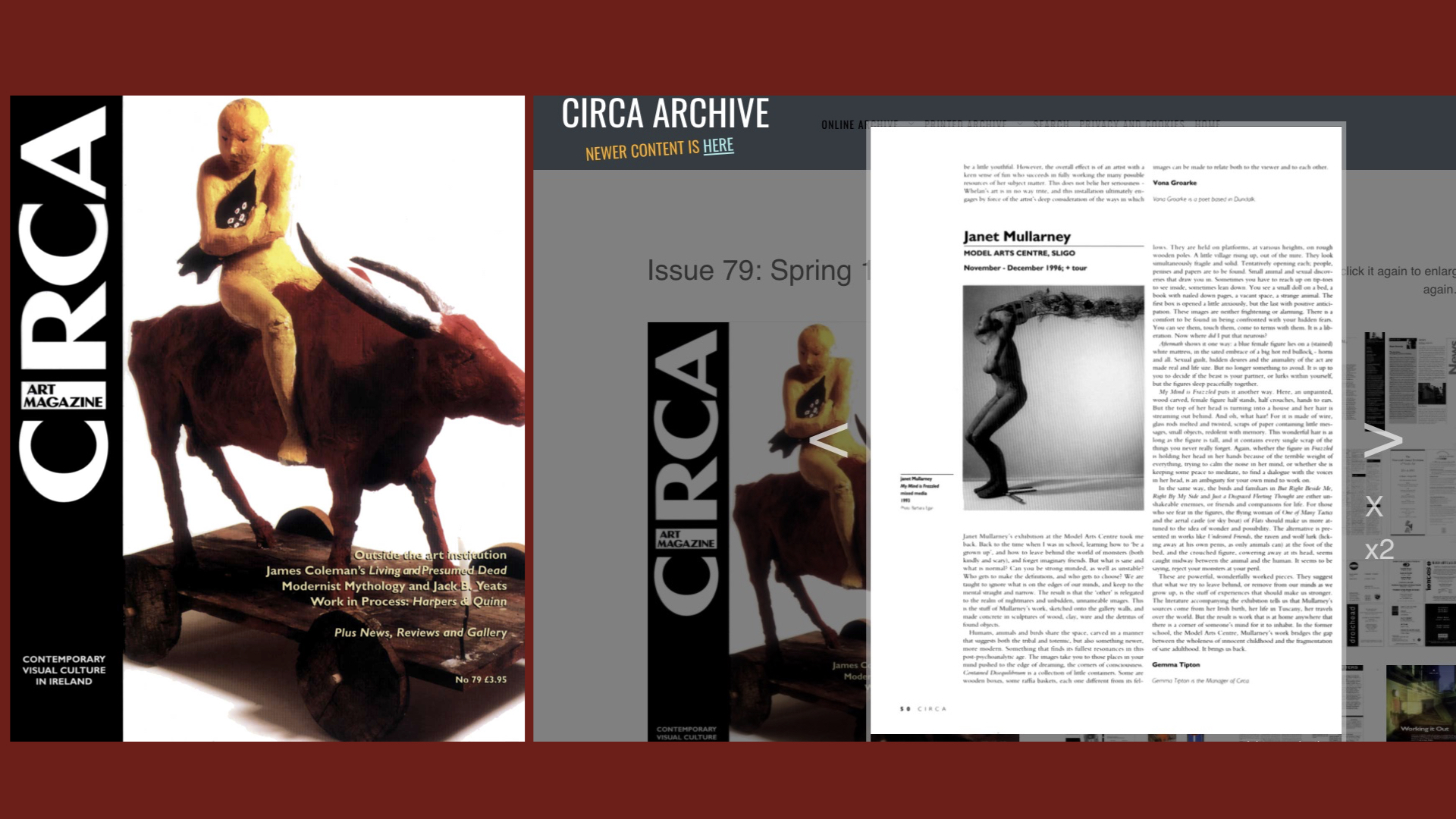 CIRCA Issue #79 – Gemma Tipton / Janet Mullarney, Model Arts Centre, Sligo, November – December 1996; + tour