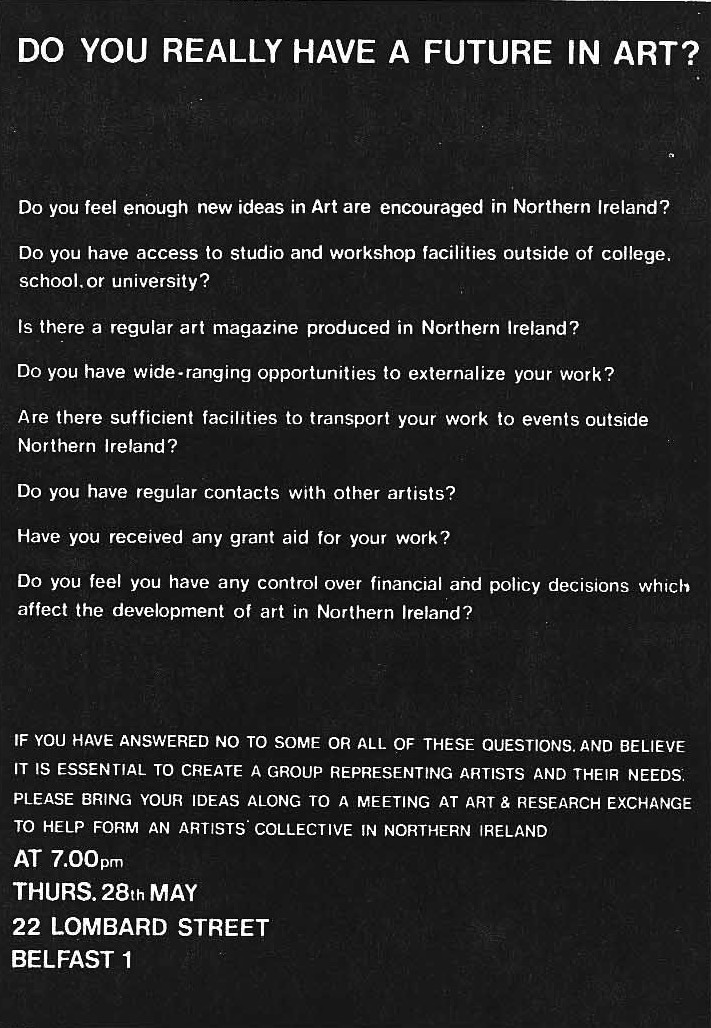 Poster circulated in May 1981 by Art and Research Exchange ahead of the meeting from which the Artists\