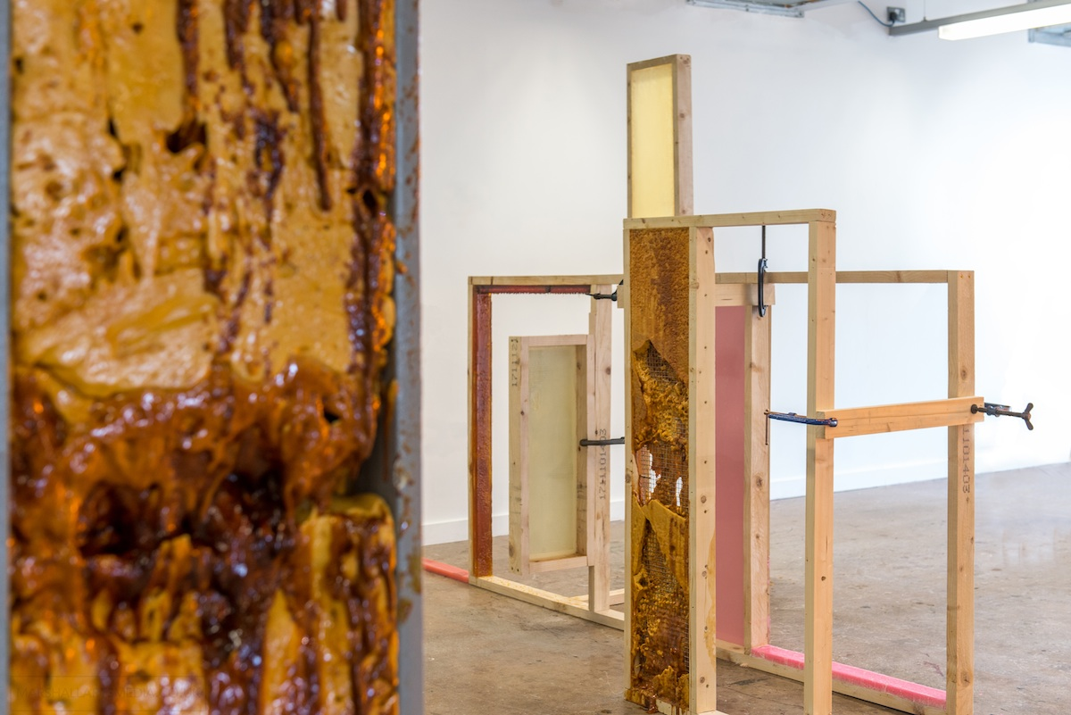 Molasses drip, 2017, Dimensions variable, Pillar insert and installation piece, photography by Paul Marshall.