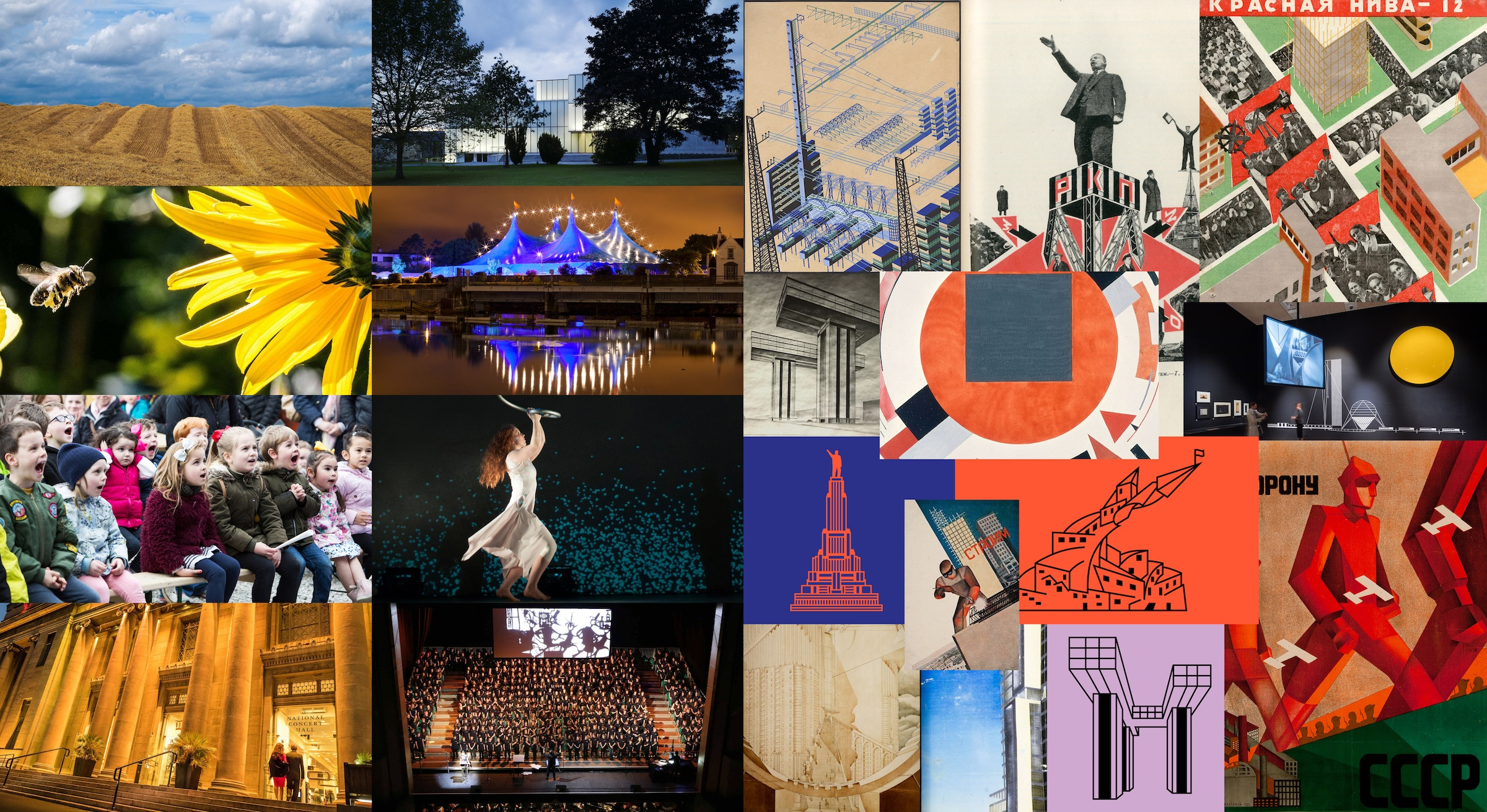 Montage of images from the Creative Ireland's website and from the Design Museum's 'Imagine Moscow: Architecture, Propaganda, Revolution' exhibition.