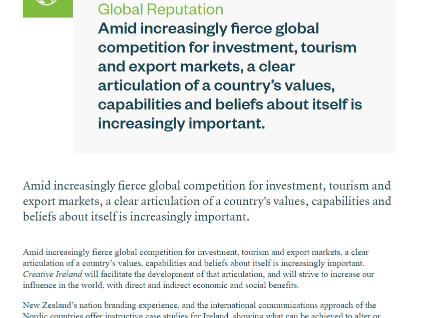 Screenshot of the Global Reputation page on the Creative Ireland website taken on 12 October 2017. It has been amended since.