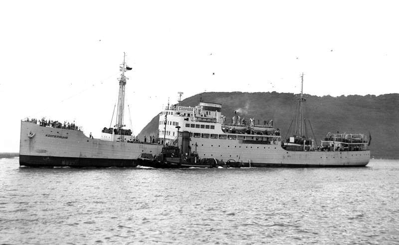 The KOOPERATSIYA (Co-operation) navigated the London to Leningrad route, it is the ship on which the Irish writer Liam O\