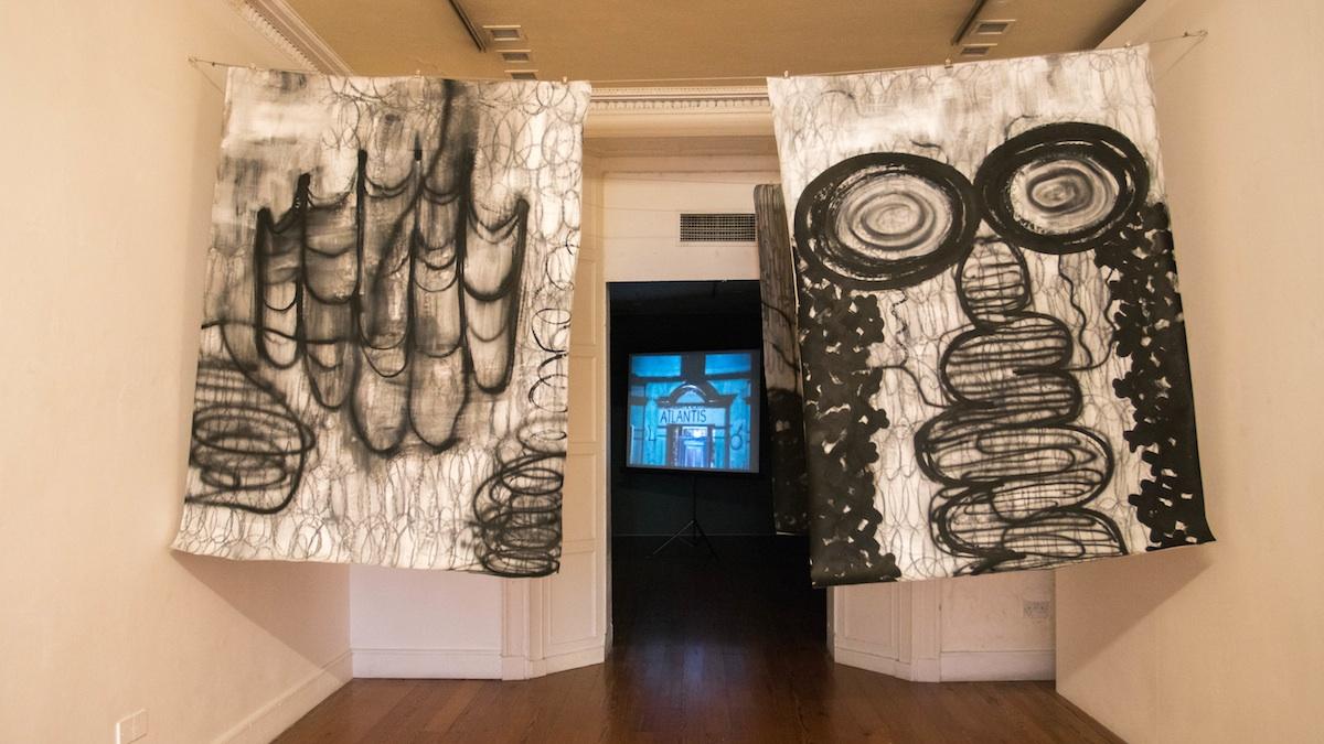 Installation view at the Galway Arts Centre with Sam Basu Becoming Manifold (2016-2017) and Bob Quinn The Family (1979). Photo Credit: Jonathan Sammon.