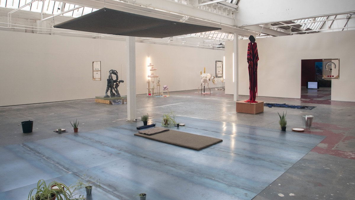 Installation view of the Connacht Tribune Print works with David Beattie Propositional Things (2017), Oisin Byrne Then Yourself (2017), Fabienne Audeoud Untitled (Faces on transparent taffetas), (2016), Kian Benson Bailes An urban phenomenom, bareback or nothing and Ritual of oak and mistletoe (2017). Photo Credit: Jonathan Sammon.