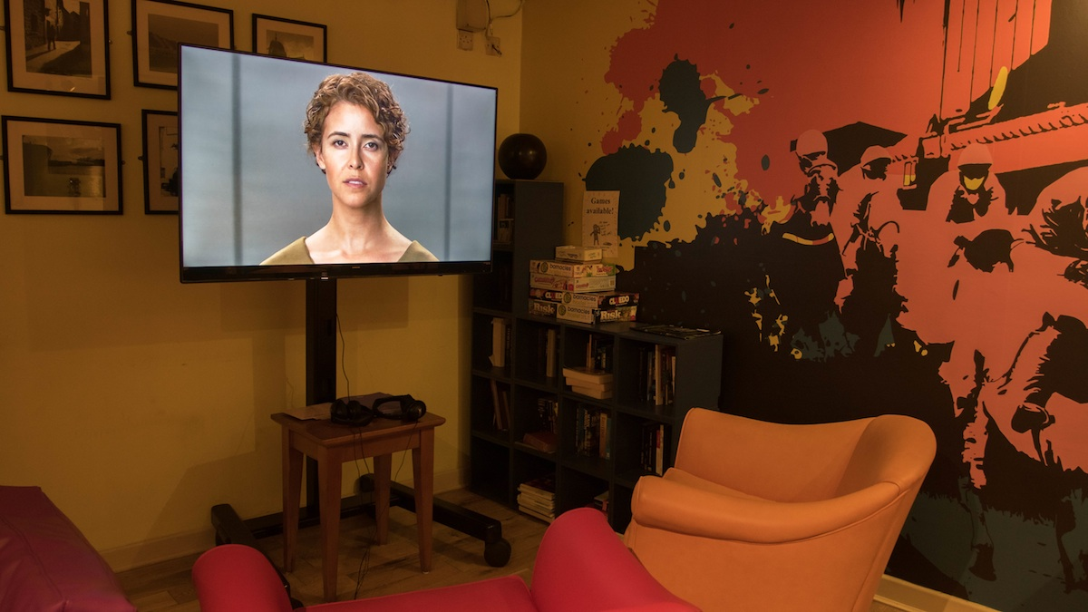 Installation view of the common room at Barnacles Hostel of Liz Magic Laser Primal Speech (2016). Photo Credit: Jonathan Sammon.