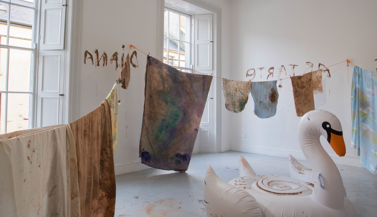 Installation view at the Galway Arts Centre of Lucy Stein Inflating the Goddess (2017). Photo Credit: Jonathan Sammon.