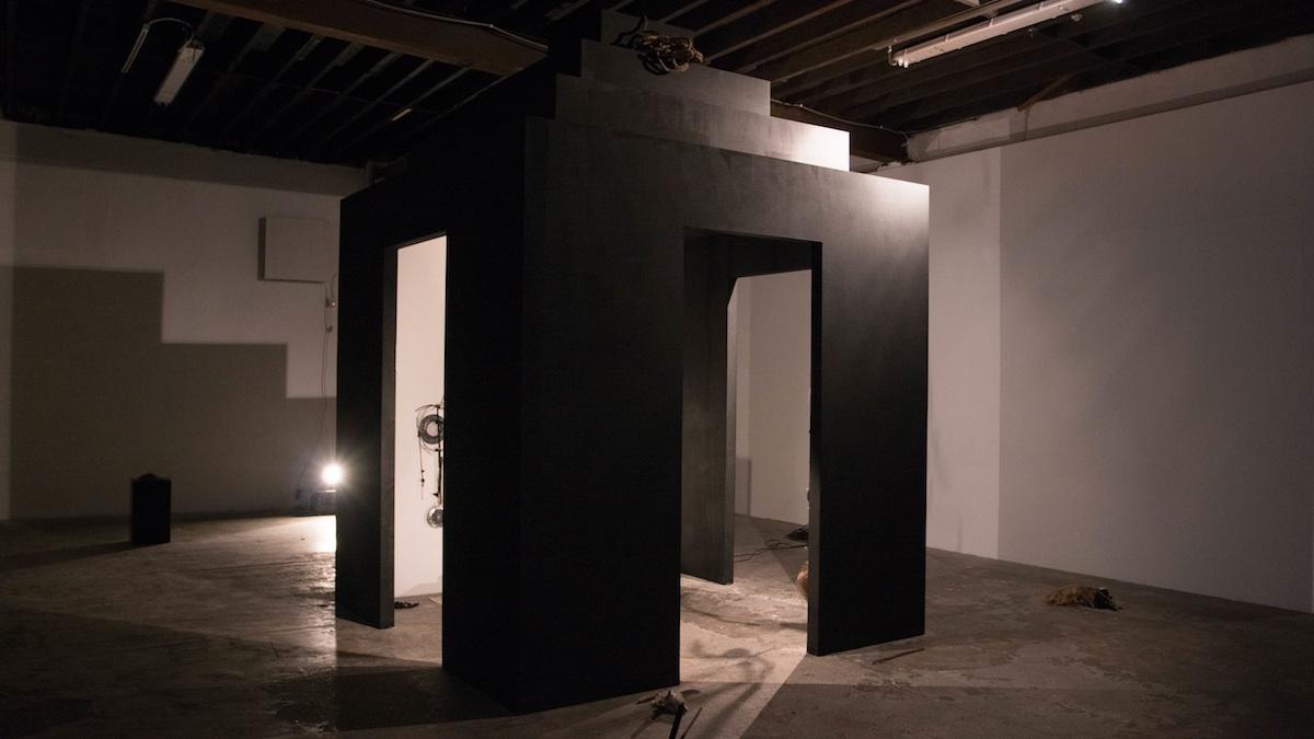 Installation view at 126 Artist-Run Gallery of Richard Proffitt The Short Cut: Don't follow the Black Dog (2017). Photo Credit: Jonathan Sammon.