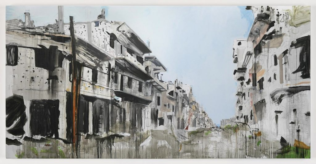 Brian Maguire, Aleppo 4, 2017, acrylic on linen, 200 x 400 cm. Image courtesy the artist and Kerlin Gallery.