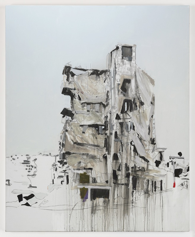 Brian Maguire, Aleppo 3, 2017. acrylic on linen, 210 x 170 cm. Image courtesy the artist and Kerlin Gallery.