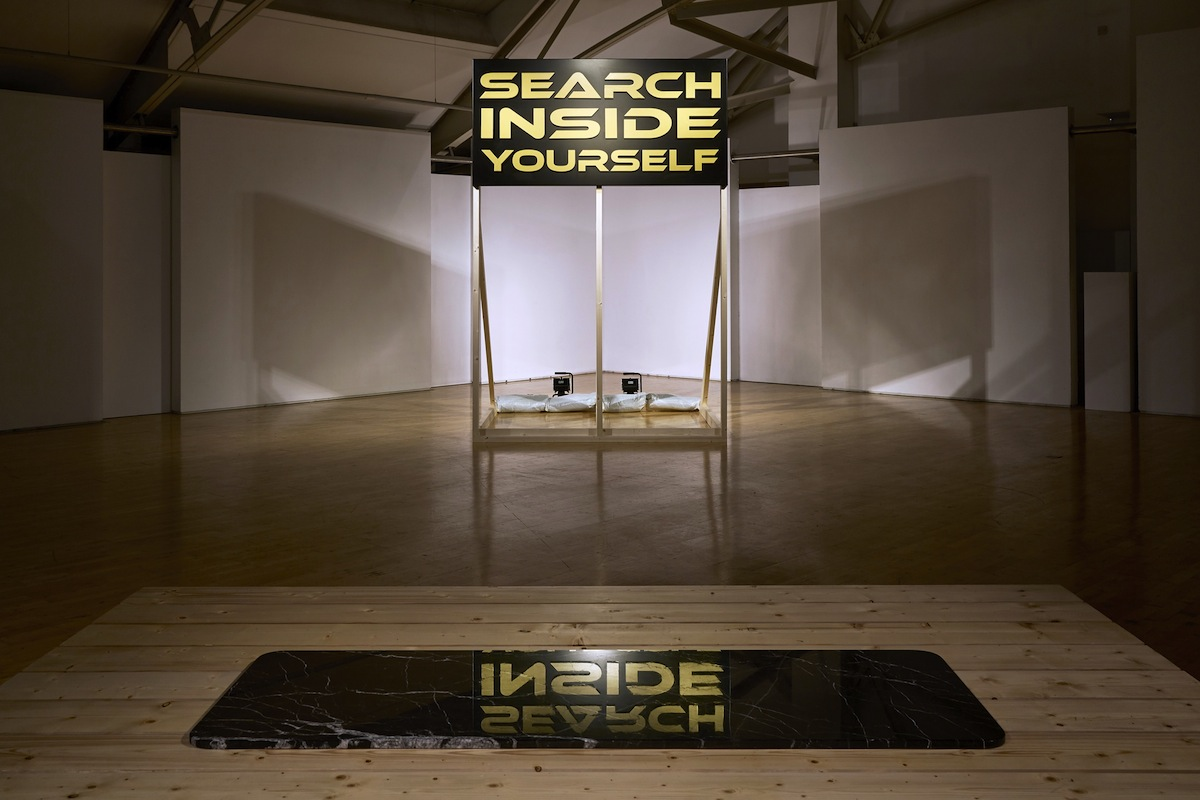 SEARCH INSIDE YOURSELF, 2017, Pine, aluminium, 300cm x 200cm x 200cm, 200cm x 100cm. Photos by Simon Mills.