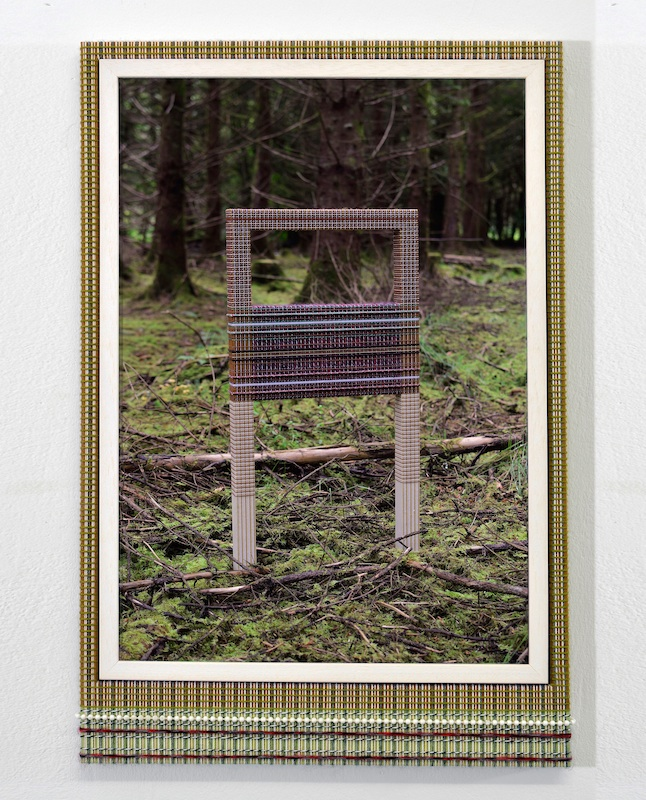 David Lunney, Things twice at Drumnadober (front), 2017, colouring pencil on paper, framing, wood, various strings and cords, ribbon, acrylic, glue, 57cm x 65cm, Photo courtesy the artist.