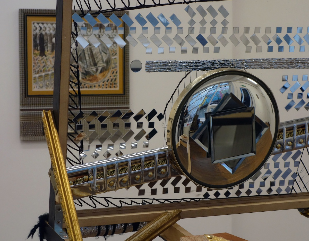 David Lunney, Chrome Dreams, 2018, Framing, ArtGlass, various mirrors (novelty convex mirror, vanity mirrors, self-adhesive acrylic mirrors), chrome pole, reflective ribbon, camera bolt, fixings, wood, 52cm x 55cm x 69cm, Photo courtesy the artist.