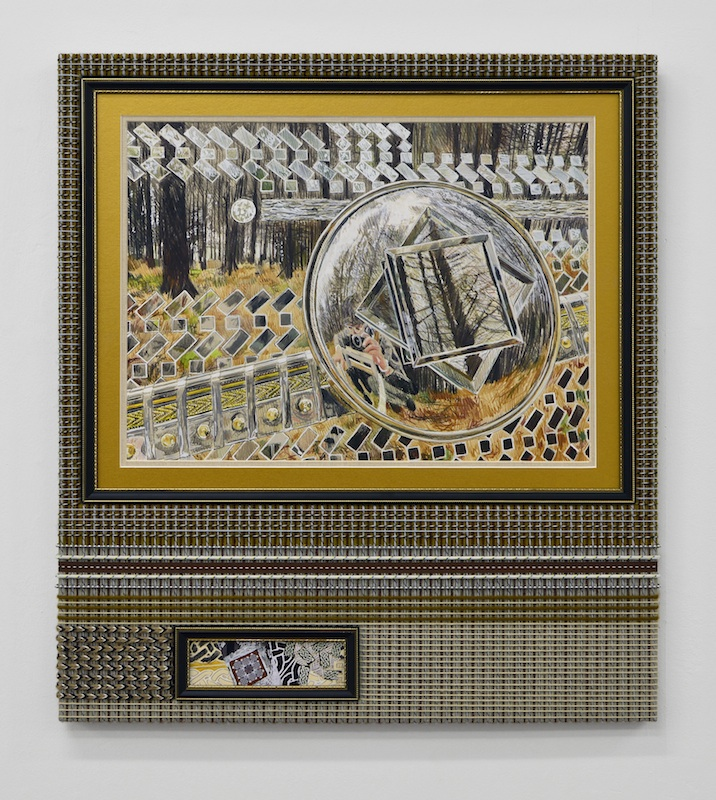 David Lunney, Chrome Dreams at Ballyedmonduff (gold), 2018, colouring pencil on paper, framing, wood, various strings and cords, ribbon, acrylic, glue, 57cm x 65cm, Photo courtesy the artist.