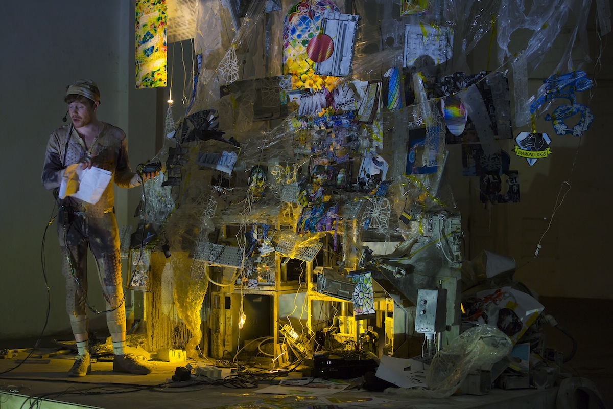 Sam Keogh, Integrated Mystery House, 2018, performance and mixed media installation. Performance at at the 38th EVA International 2018. Photo: Deirdre Power, Courtesy the artist and EVA International.
