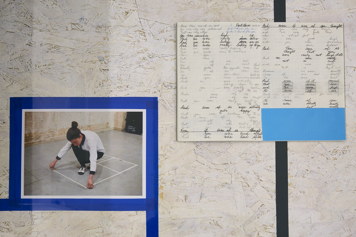 Irina Gheorghe Foreign Language for Beginners, 2015 – 2018 Performance, notebooks, screen print, photographic documentation, tape, photo courtesy of Simon Mills/CCA