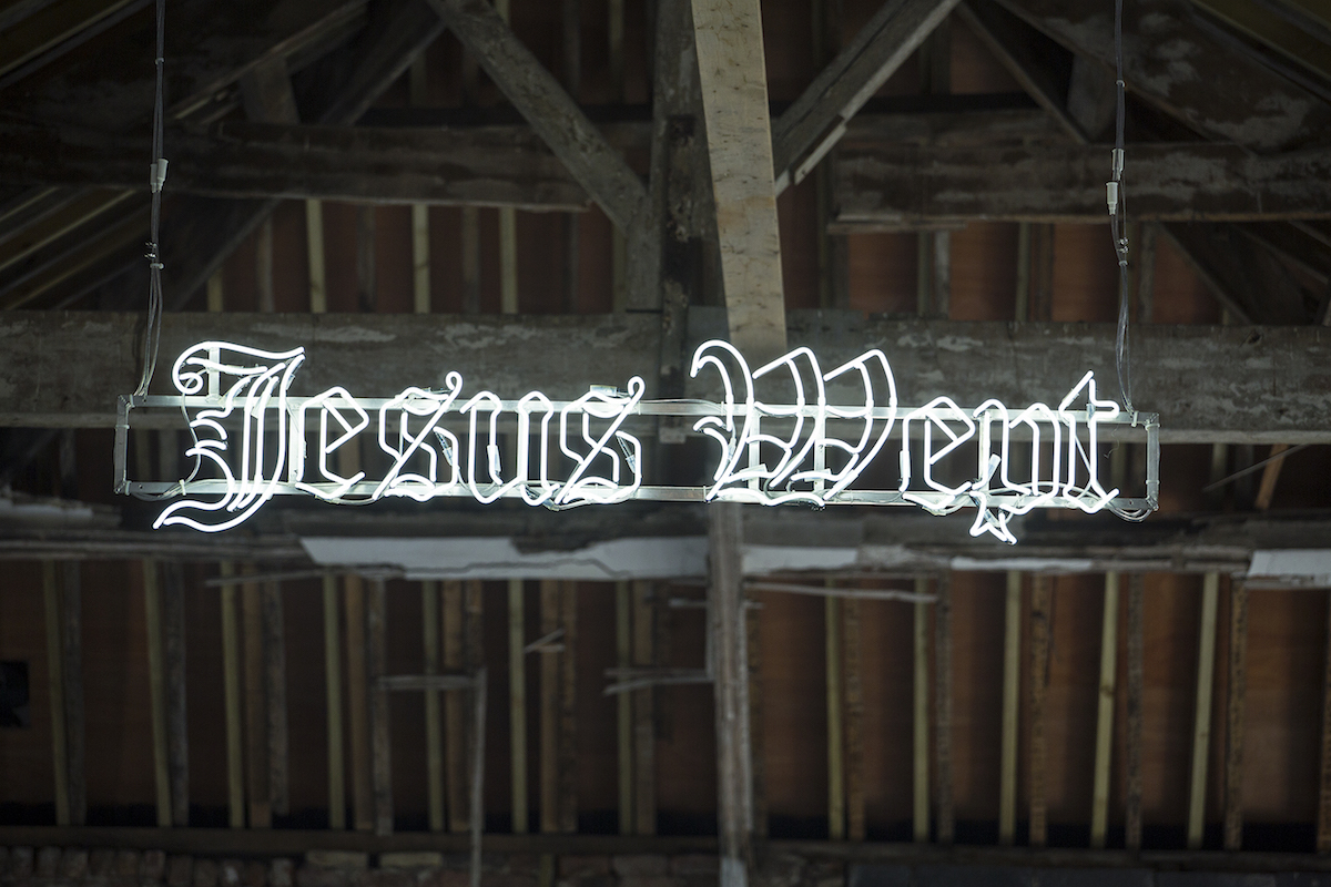 Colin Booth, Jesus Wept, 2012-13, Neon, Photo: Deirdre Power. Courtesy the artists.