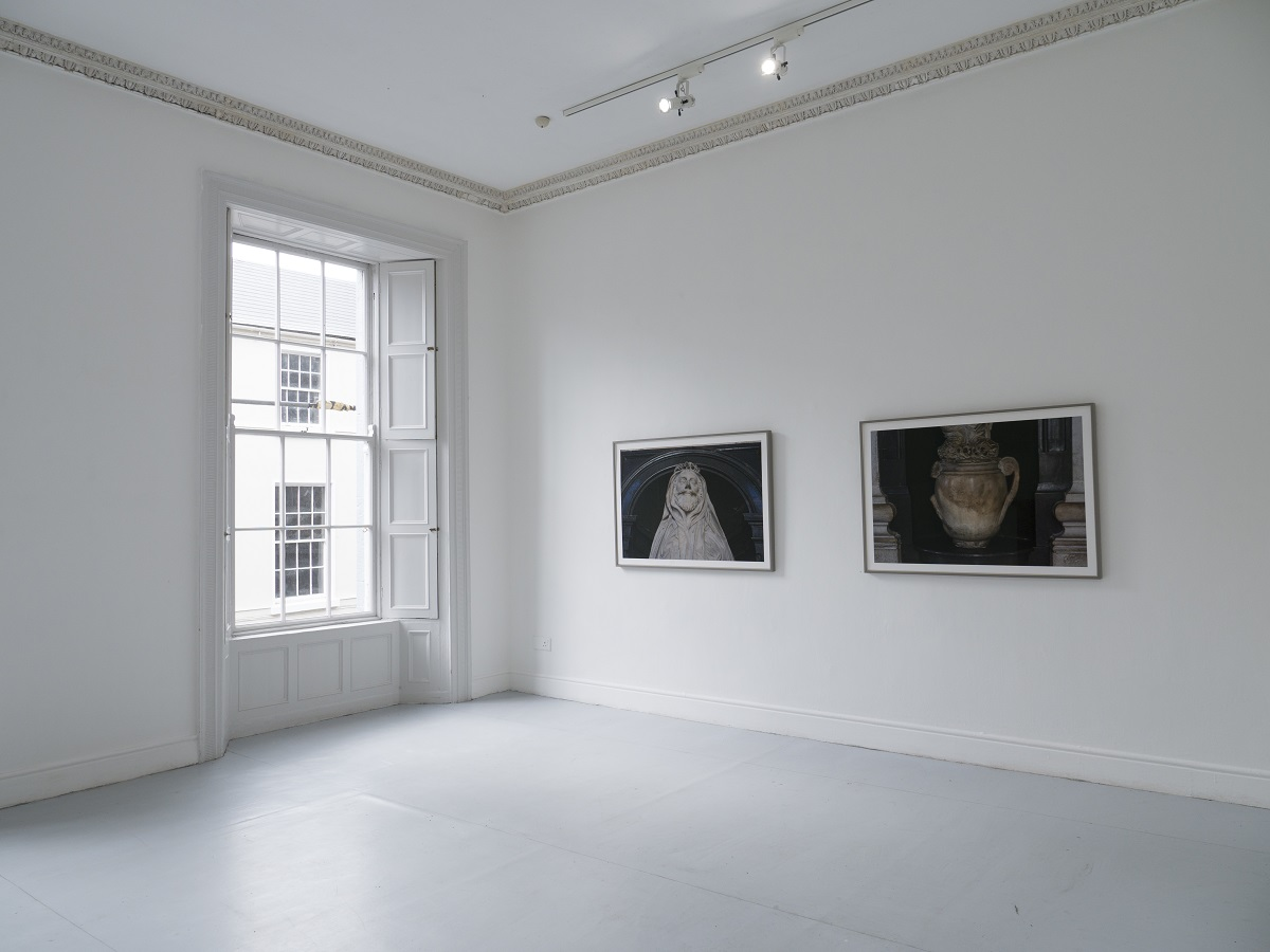 Installation shot of digital photographs by Isabel Nolan Those glorious eyes grew faint  in their sight  and I Am Wonderfully and fearfully made,  photo credit Tom Flanagan