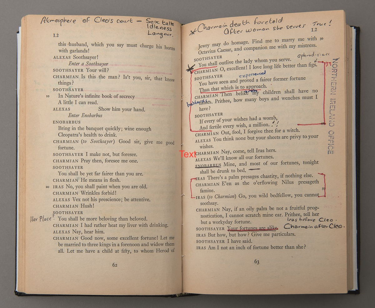 William Shakespeare, Antony and Cleopatra; hand-written marginalia by Republican / Loyalist Long Kesh compound internees and prisoners that forms the text and audio components for Amanda Dunsmore, The Soldier and The Queen, 2005.
