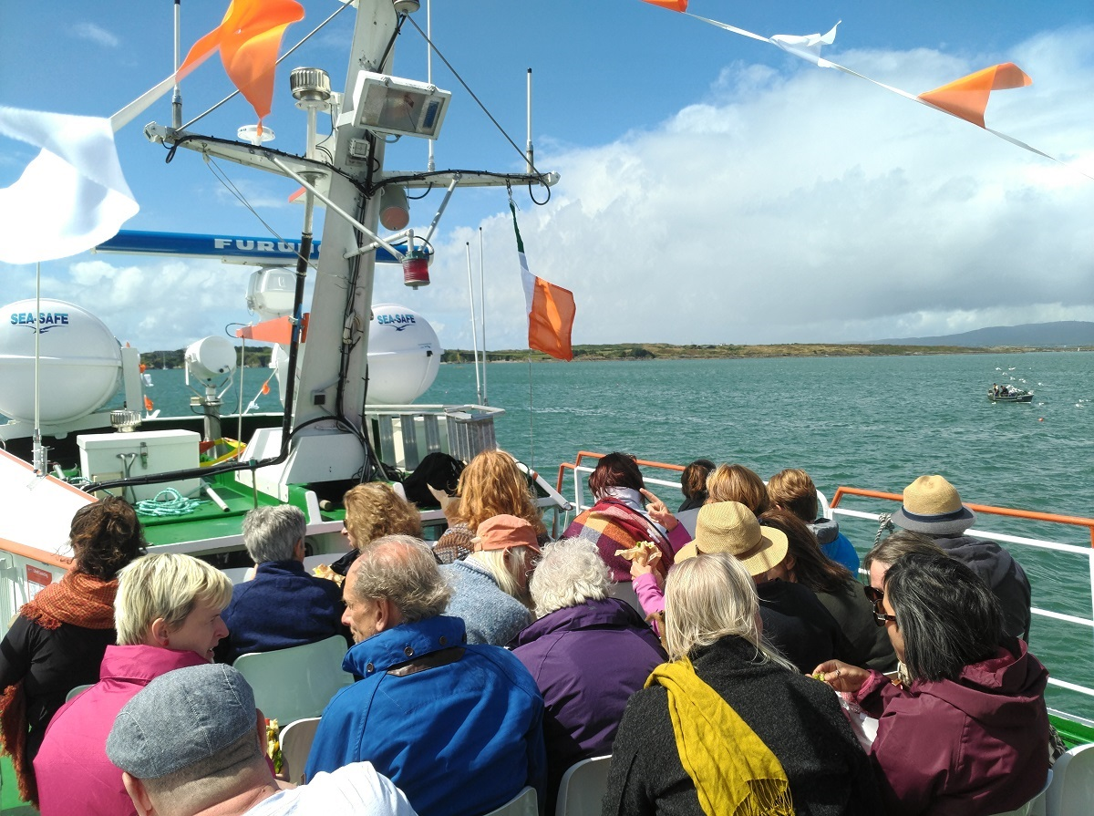 Participants taking part in the What is an Island? event on board the Dún na Séad, photo courtesy of Mary Sullivan and BAVA/DIT