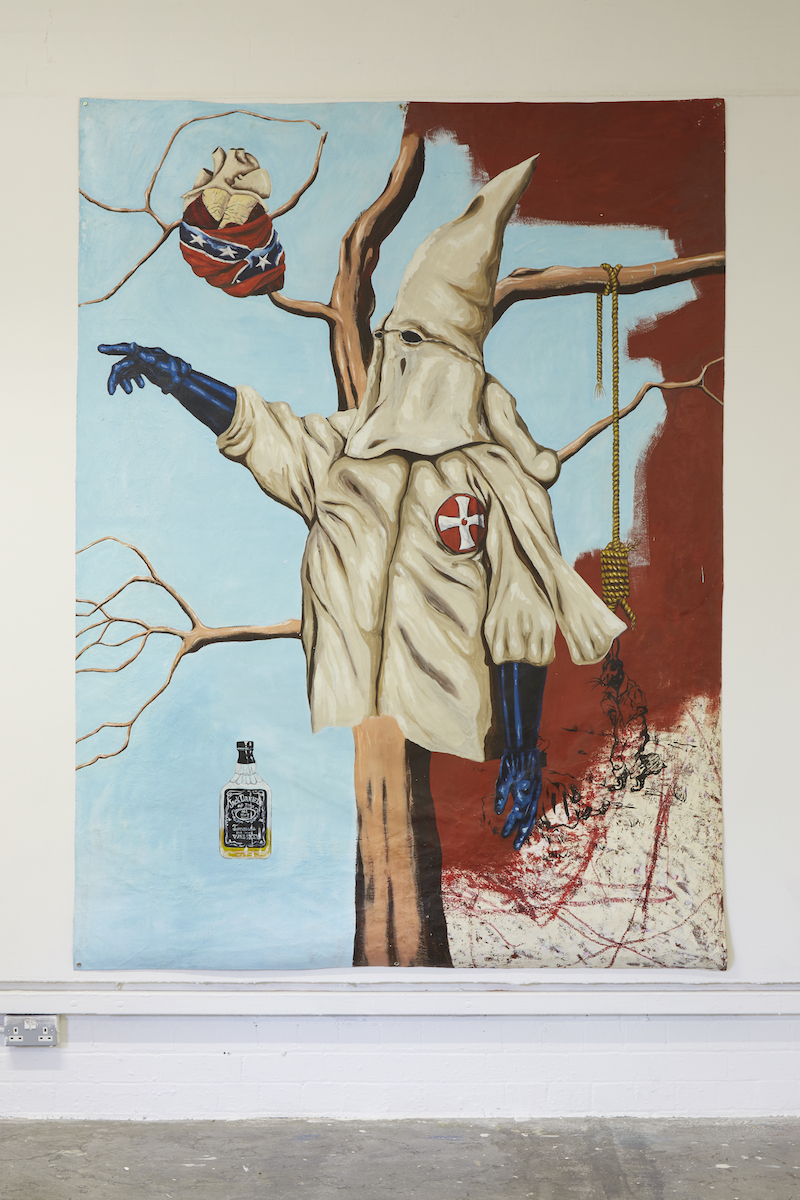 Travis Somerville, Family Tree, 2006, oil and mixed media on unstretched canvas, image credit Simon Mills.