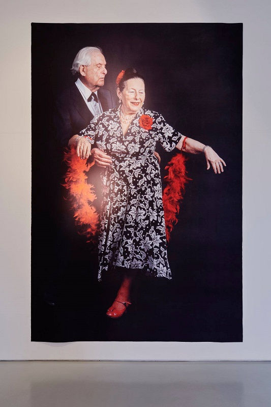 Rosalie & Morris, photographic print on polycotton 362 x 228cm, Theresa Nanigian with Peter Connor. Installation image by Ros Kavanagh.