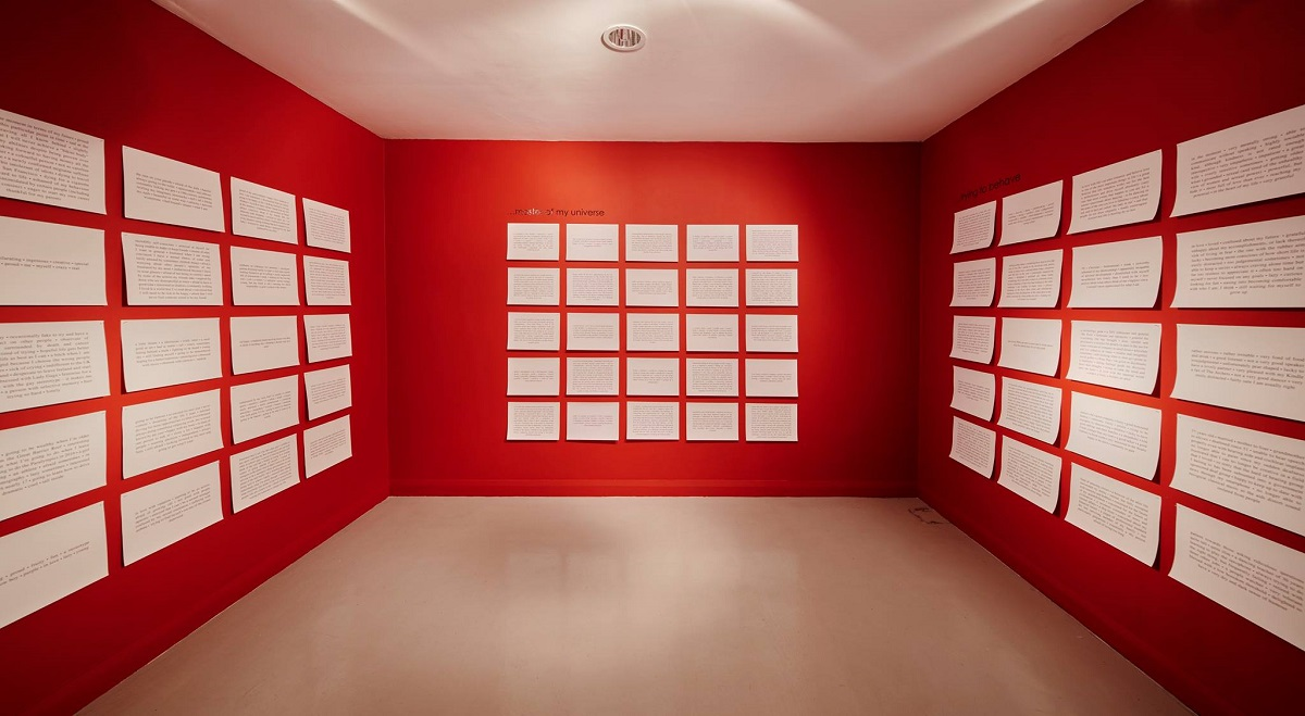 Installation view, I Am, 75 text plaques, 29.7 x 42cm each. Installation image by Ros Kavanagh.