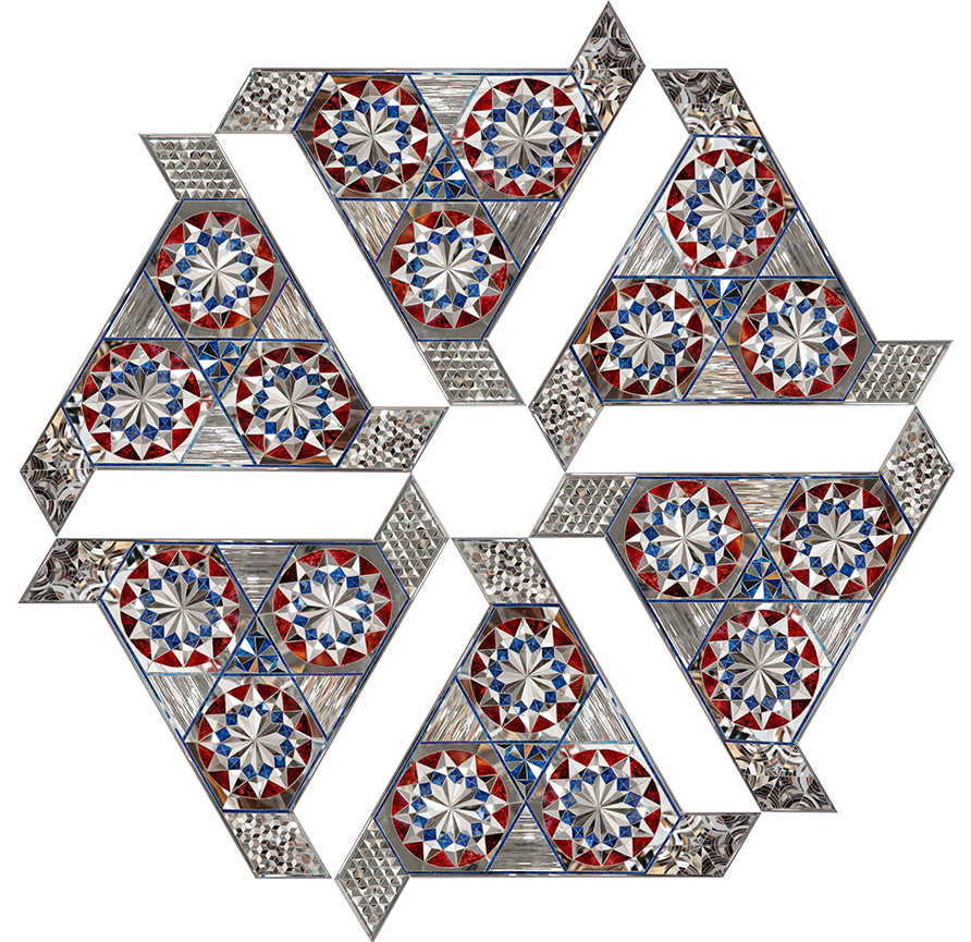 Monir Shahroudy Farmanfarmaian, Group 9 (Convertible Series), 2010, Mirror and reverse glass painting on plaster and wood, Variable configurations (150 x 150 cm). Courtesy the artist and The Third Line, Dubai.