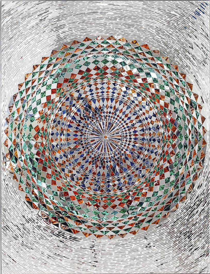 Monir Shahroudy Farmanfarmaian, Sunrise, 2015, Mirror and reverse-glass painting on plaster and wood, 130 x 100 cm 110 cm diameter. Private Collection, United Arab Emirates. Courtesy of the artist and The Third Line, Dubai.
