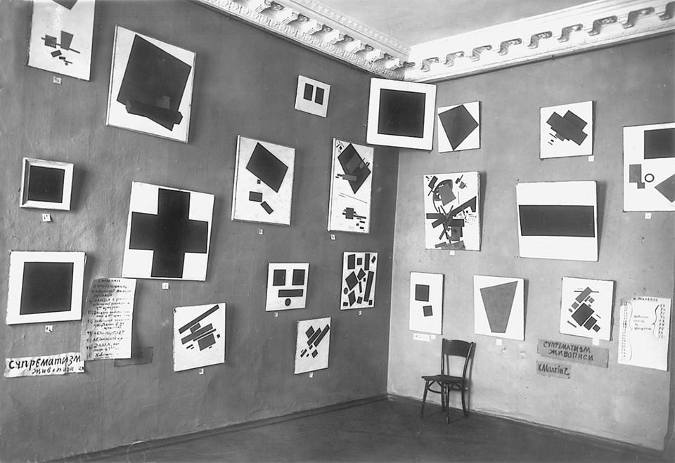 Fig 1. 0,10: The Last Futurist Exhibition of Painting, Petrograd, 1915 1916, includes, Malevich Black Square (1913)