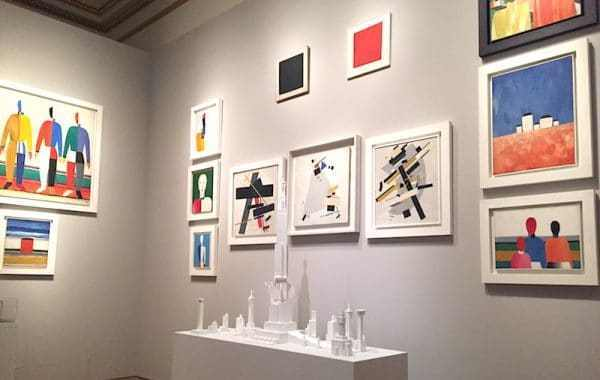 Fig 12. The Kazimir Malevich room, a reconstruction of a room from the 1932 exhibition Fifteen Years of Artists of the Soviet Republic in Revolution: Russian Art 1917-1932, Royal Academy, London, 2017