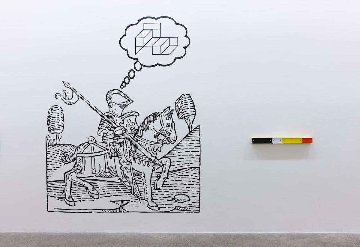 Liam Gillick, A Depicted Horse is not a Critique of a Horse, Installation view with A depicted horse is not a critique of a horse... and Restriction Channelled. Image courtesy of the artist and Kerlin Gallery, Dublin.