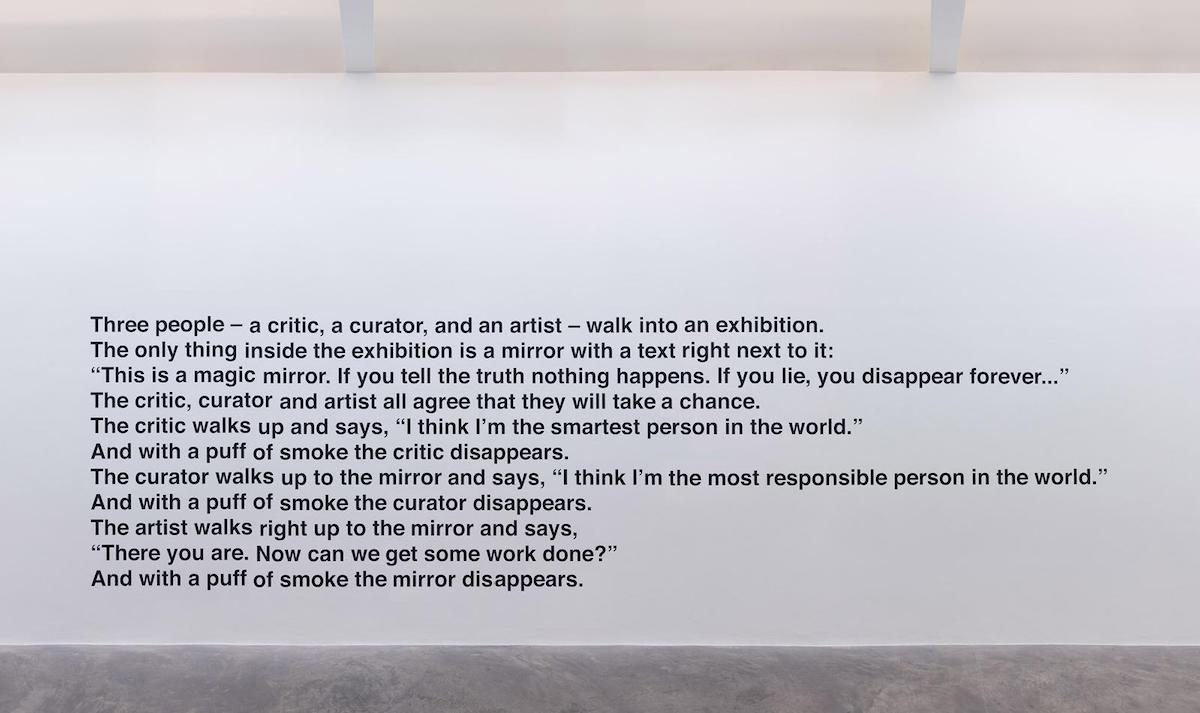 Liam Gillick, What is a mirror for?, 2018, matte black vinyl on wall, 300 x 740 cm. Image courtesy of the artist and Kerlin Gallery, Dublin.