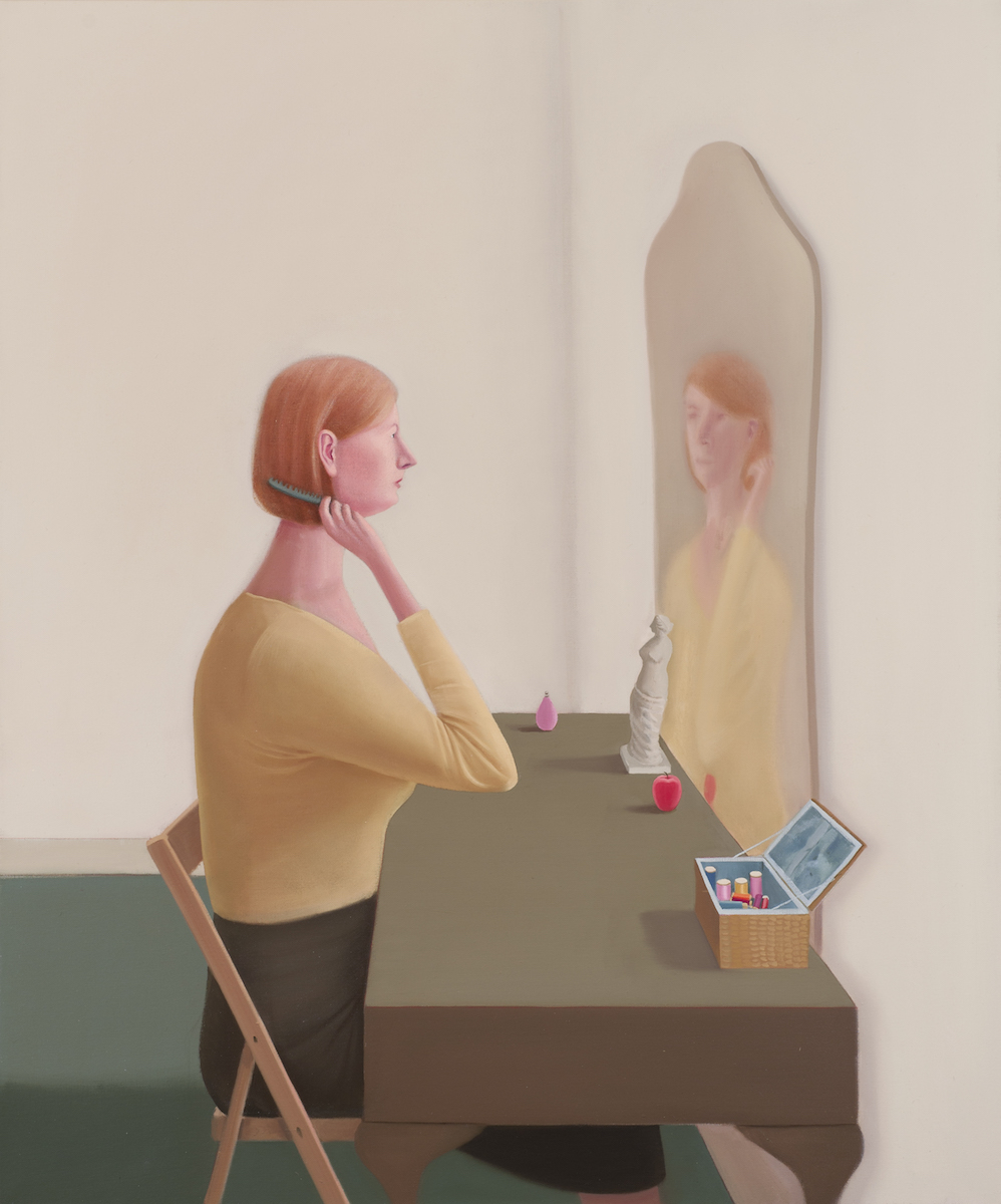 Prudence Flint, Queen Anne Mirror, 2012, oil on linen, 122 x 102 cm. Photography Ian Hill.