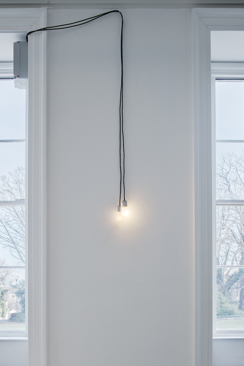 Communion (2015) two programmed incandescent lightbulbs, Walker and Walker, Nowhere without no(w), installation view, IMMA. Photo: Ros Kavanagh.