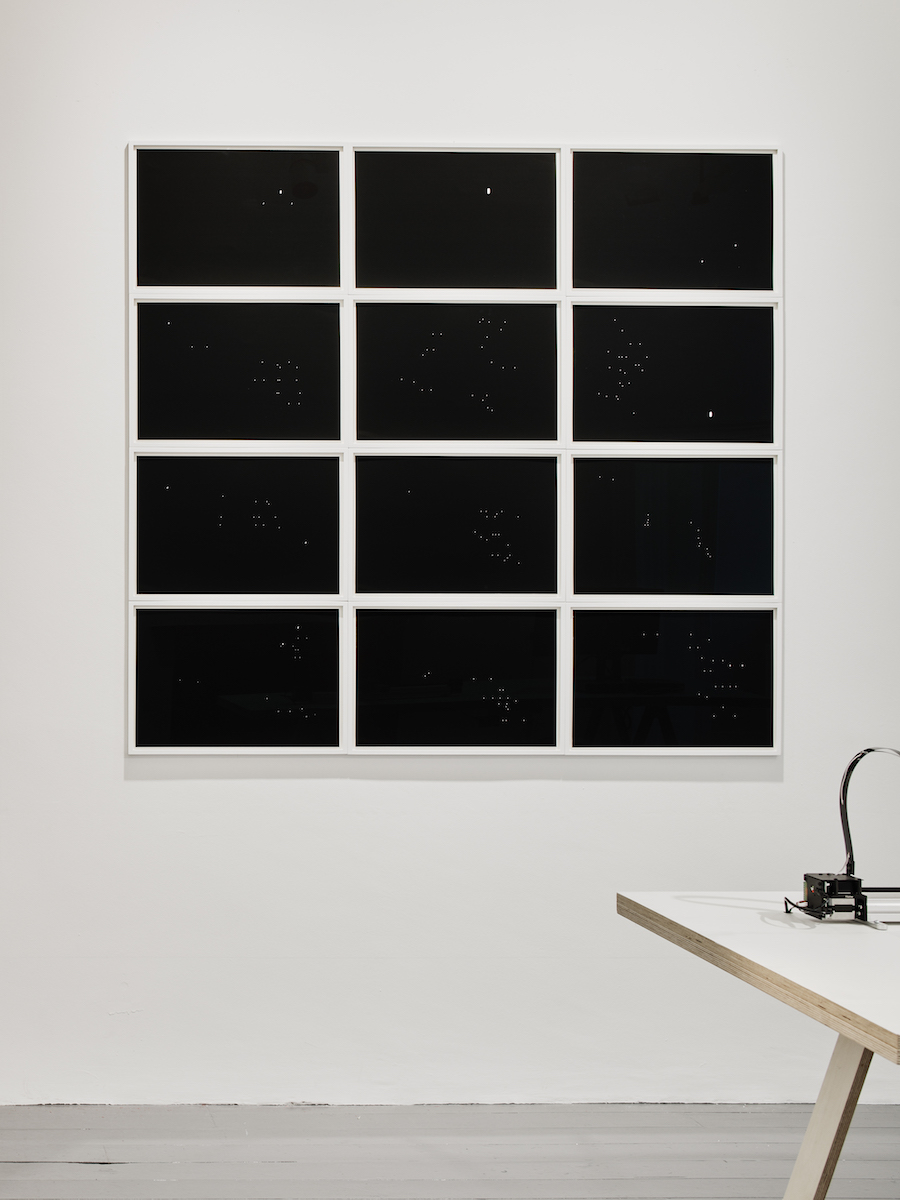 Night Drawings ('A Throw of the Dice will Never Abolish Chance', Stéphane Mallarmé) (2019) 12 prints of Hahnemühle paper from an ongoing series of inked out poems, 2008-2019, Walker and Walker, Nowhere without no(w), installation view, IMMA. Photo: Ros Kavanagh.