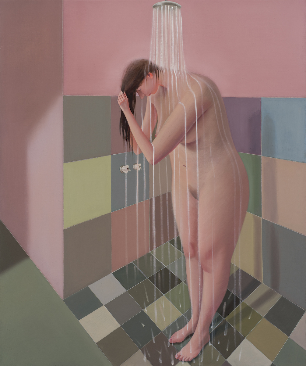 Prudence Flint, Shower #2, 2017, oil on linen, 122 x 102cm. Photography Ian Hill.
