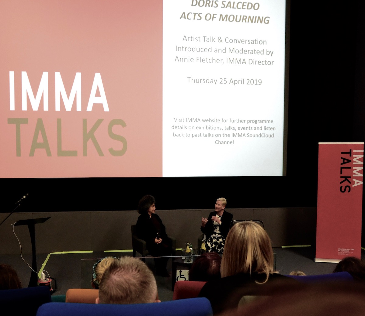 Doris Salcedo in conversation with Annie Fletcher, IMMA Talk at the Lighthouse Cinema. Photography: Dahlia Dreven.