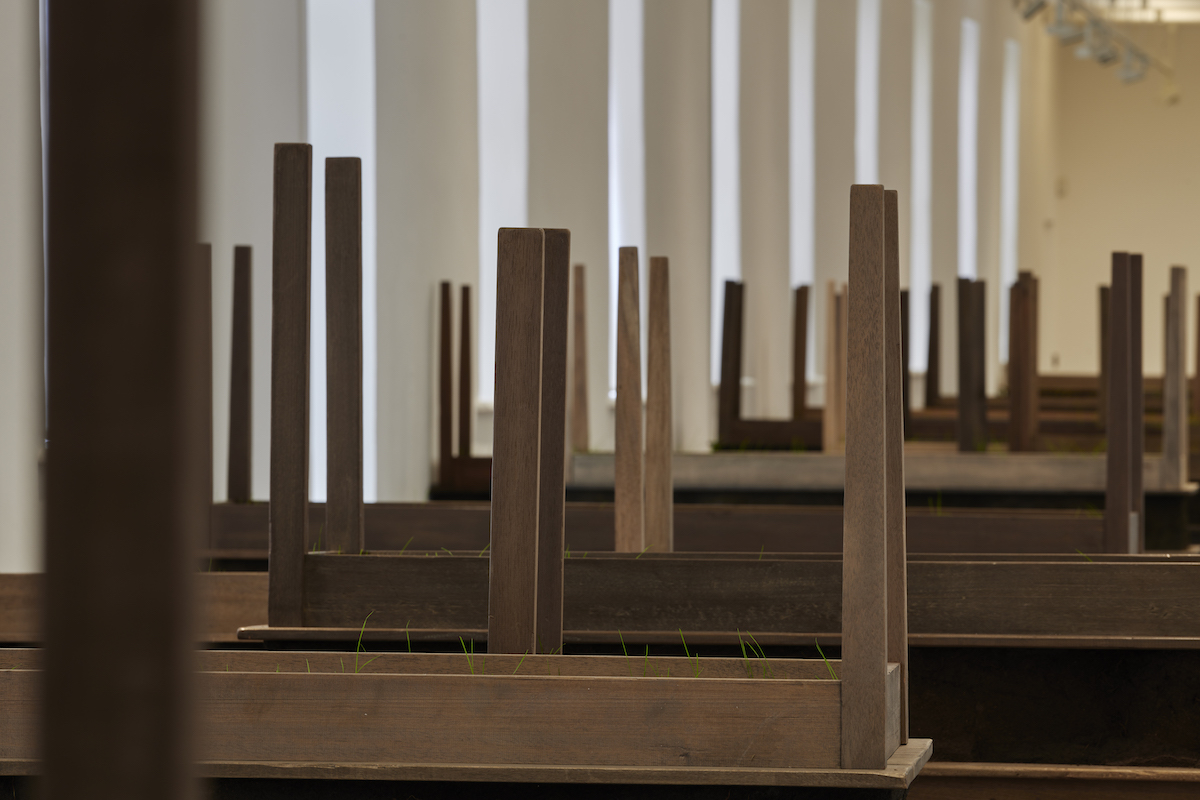 Doris Salcedo, Plegaria Muda, 2008–2010, Wood, mineral compound, cement and grass (28 units), Dimensions variable, Courtesy of the artist and White Cube Gallery, London. Installation view Doris Salcedo, Acts of Mourning, IMMA, Dublin, 2019. Photo: Ros Kavanagh