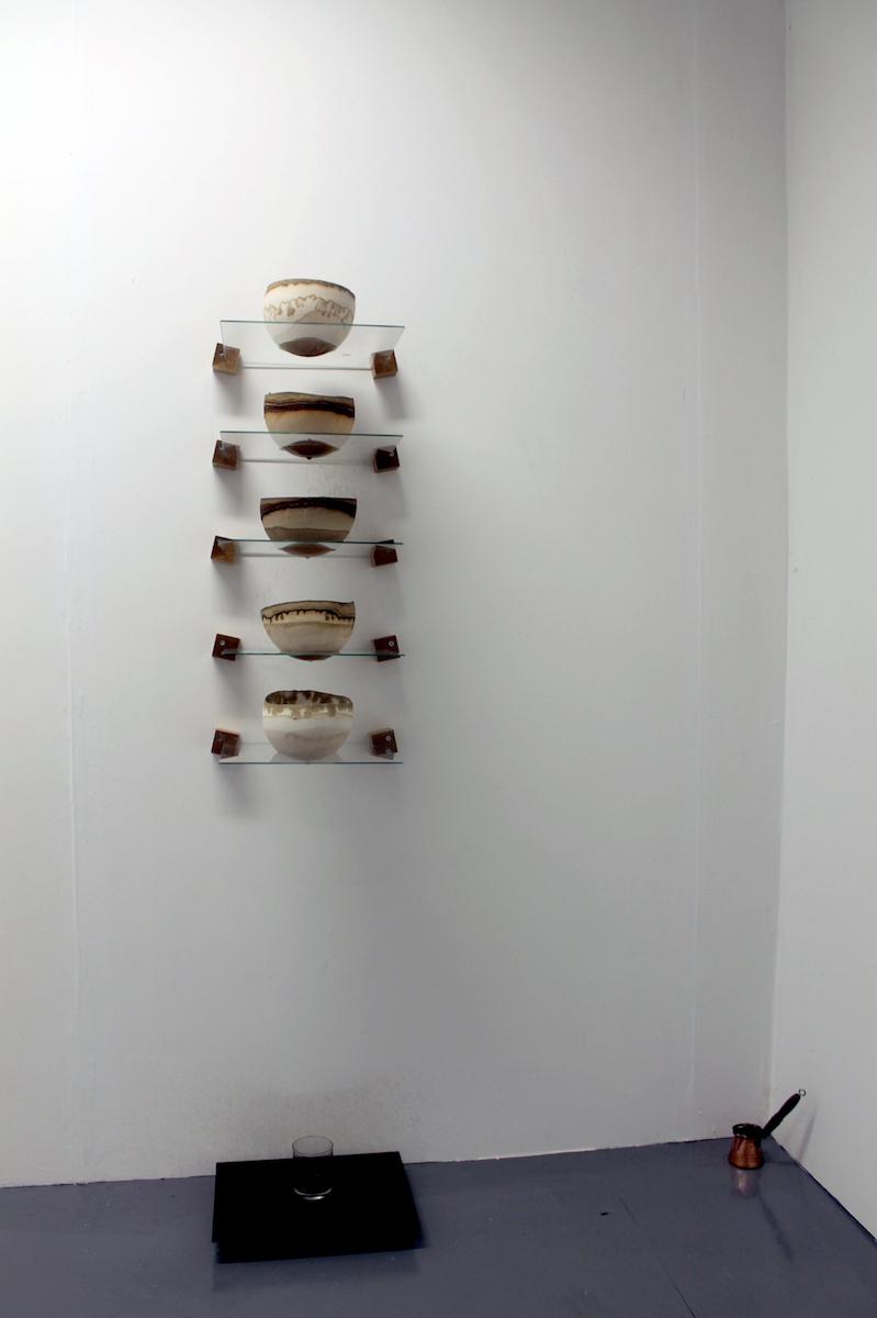 Mateja Šmic, Purifying Device / Destigmatization, installation: plaster pieces, Turkish coffee, coffee pot, glass, tumbler (2019), image courtesy of the artist.