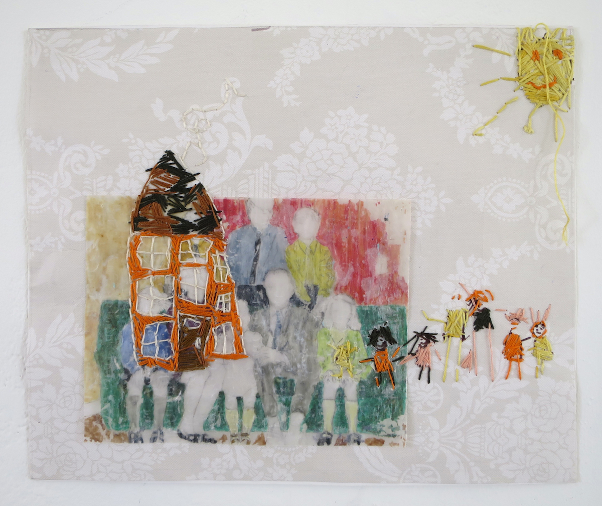Úna Morris, Housework, tempera on wax paper, embroidery, wallpaper, courtesy of the artist.