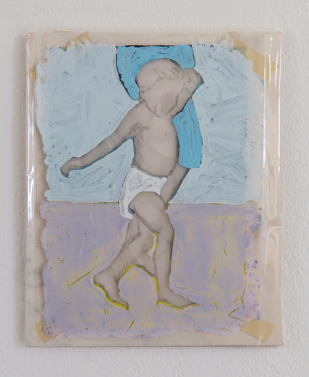 Úna Morris, Boy blue, tempera on wax paper/plastic/card, courtesy of the artist.