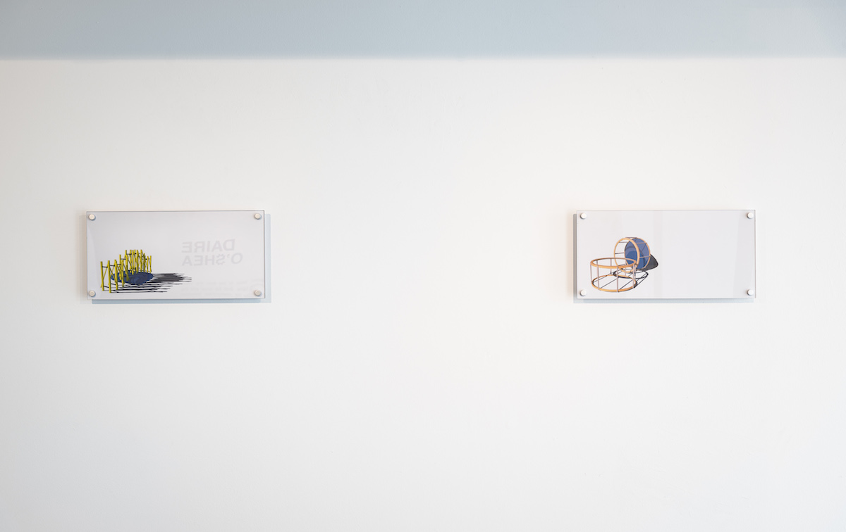 Daire O'Shea, left: As She Climbed Across the Table (2019), right: Agri-Minimalism (2019) installation view. Photography: Jed Niezgoda