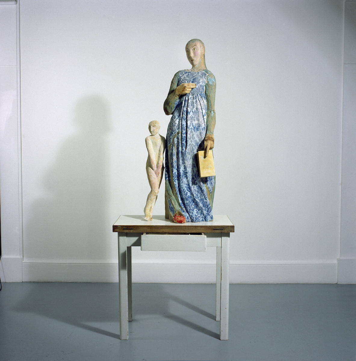 Janet Mullarney, Domestic Gods II,1998, Wood, plaster, wallpaper, mixed media, 210 x 80 x 50 cm, IMMA Collection: Purchase, 1998