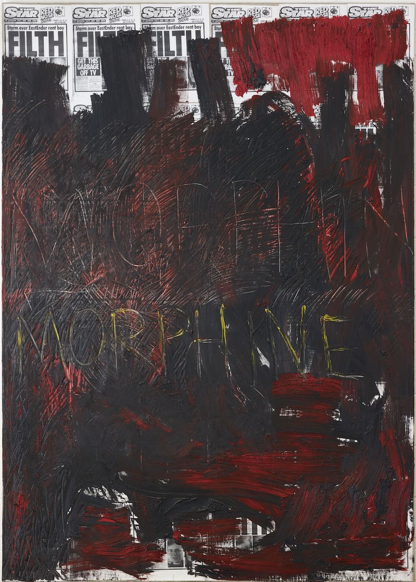 Derek Jarman, Morphine, 1992, oil on photocopy on canvas, 251.5 x 179cm, Arts Council Collection, Southbank Centre.