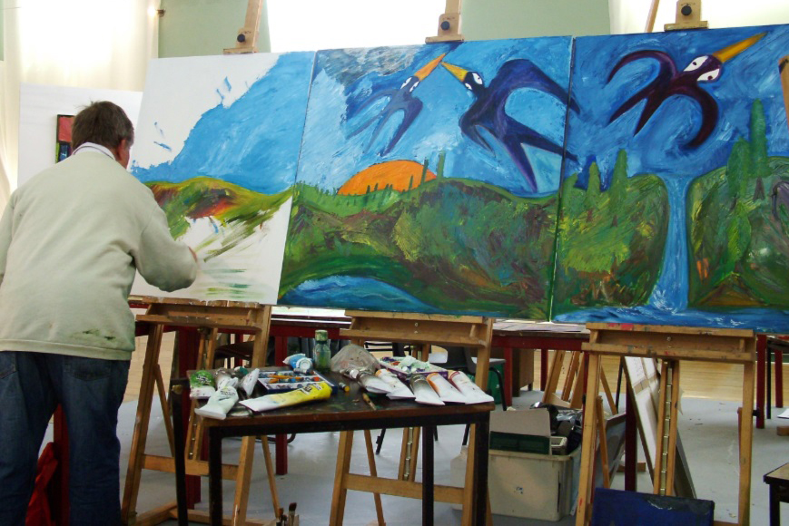 Andrew Pike at work in his studio at KCAT Kilkenny