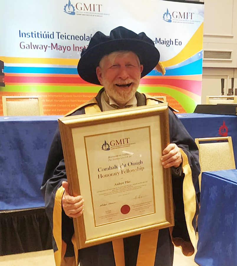 Andrew Pike receiving honorary fellowship at the Galway-Mayo Institute of Technology
