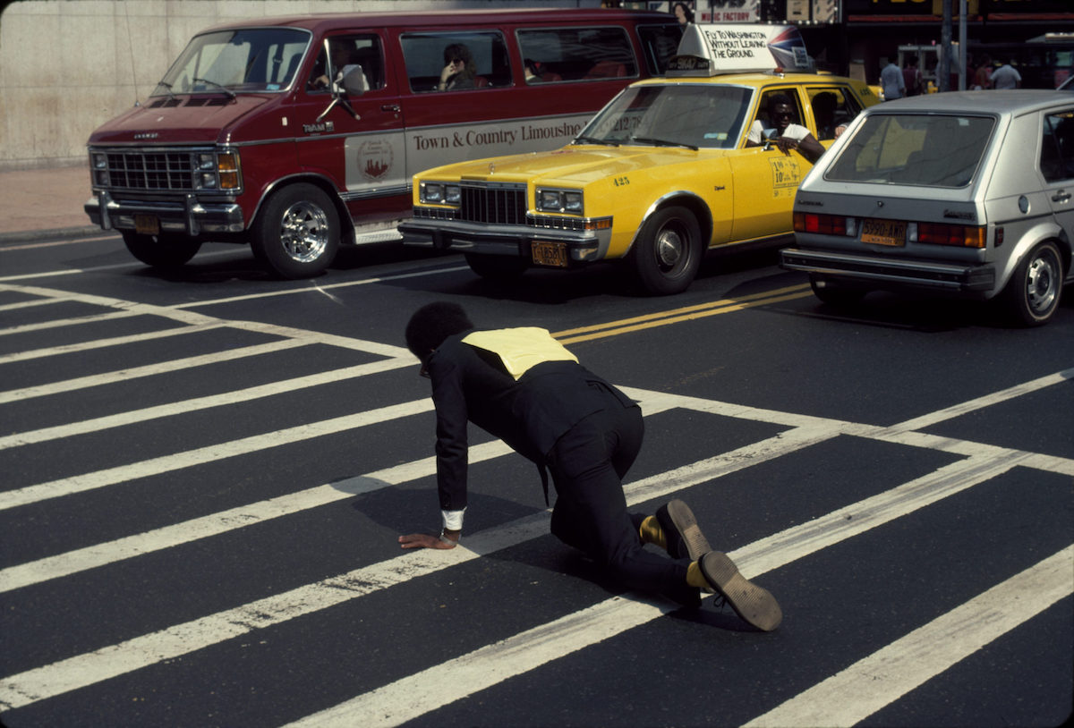 Pope. L.Times Square Crawl a.k.a Meditation Square PiecesNew York, NY 1978. Digital c-print on gold fiber silk paper. 10 by 15 in. 25.4 by 38.1 cm. © Pope.L. Courtesy of the artist and Mitchell – Innes & Nash, New York.