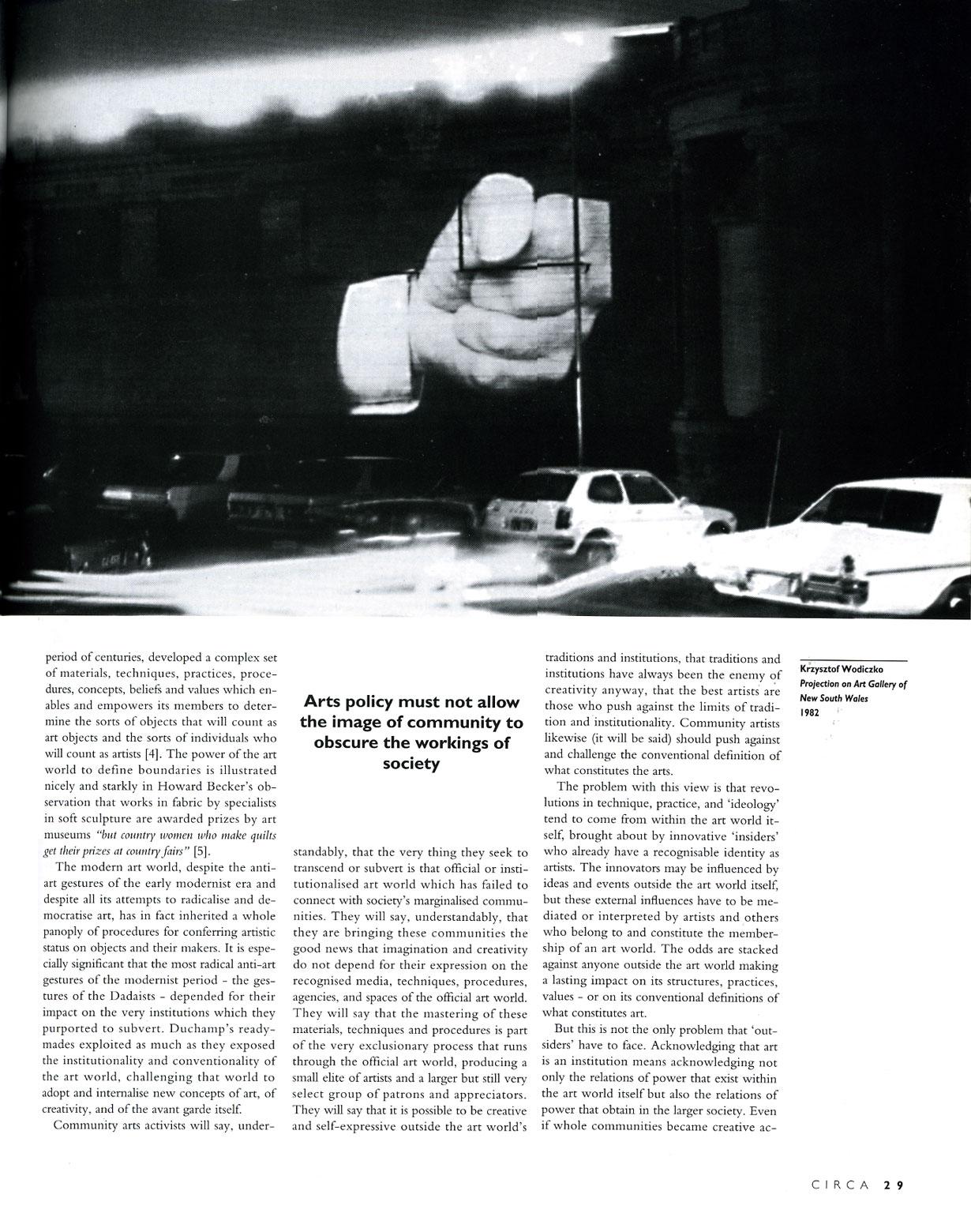 Circa Art Magazine, Issue 67, Spring 1994, p. 29