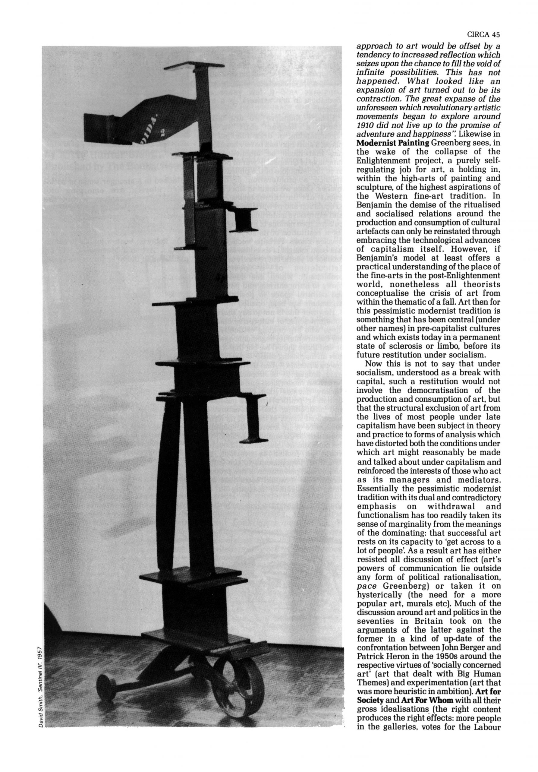 John Roberts / Art and Marginality, Circa Art Magazine, issue 30, September / October 1986, p. 45