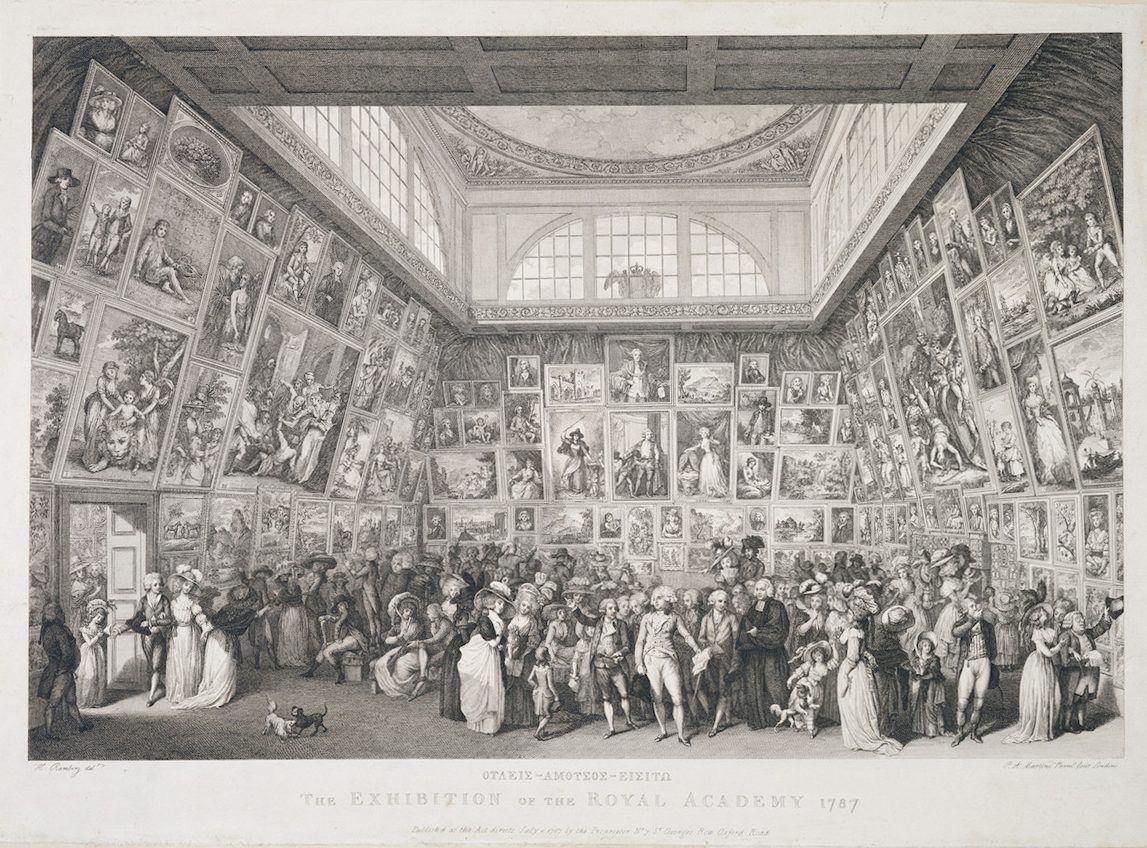 Fig.1. The Exhibition of the Royal Academy, London 1787. Pietro Martini after Johann Heinrich Ramberg, Engraving and etching. © Trustees of the British Museum, London.